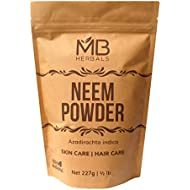 MB Herbals Pure Neem Powder 227 Gram | Half Pound | 8 Ounce | Pure Wild Crafted Neem Leaf Powder | Very Bitter Neem Supplement for Skin Hair and Detox | Azadirachta Indica