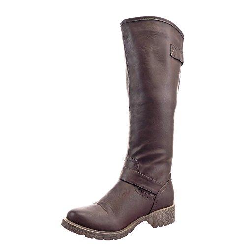 Sopily - Zapatillas de Moda Botas Cavalier Rodilla mujer Hebilla tachonado Talón Tacón ancho 4 CM - Marrón