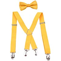 GUCHOL Child Suspenders Bowtie Set Adjustable Length Stretch1 Inches for Boys and Girls Perfect Colors