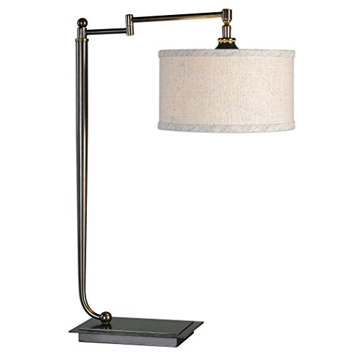 Adjustable Art Deco Style Bronze Accented Metal Swivel Lamp | Nickel Desk Task Table Light Finished Pedestal Plated Light
