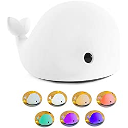 OURRY LED Night Light for Kids, Soft Dolphin Silicone Baby Nursery Lamp Sensitive Tap Control 7 Single Colors and Multicolor Breathing Light Dual Modes for Children Girls Women Bedroom and Nursery