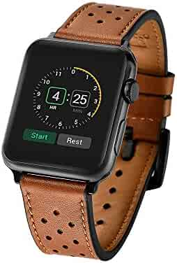 Mifa - Apple Watch band Leather Replacement Bands straps for series 1 and 2 classic buckle (42mm, Brown)