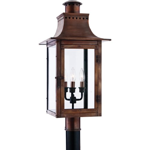 (Quoizel CM9012AC Chalmers Outdoor Copper Lantern Post Mount, 3-Light, 180 Watts, Aged Copper (26