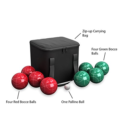 419WWLJngLL - Hey! Play!! 80-76090 Bocce Ball Set- Outdoor Family Bocce Game for Backyard, Lawn, Beach & More- 4 Red & 4 Green Balls, Pallino & Carrying Case