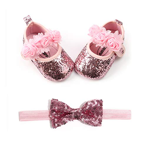 (OAISNIT Baby Girl Mary Jane Flats Sparkly Soft Infant Princess Dress Crib Shoes with Headband)