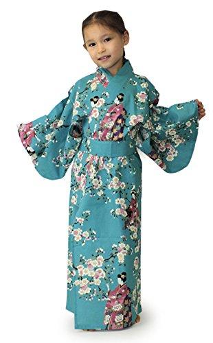 Kimono Japan Girl's Easy Yukata Robe Sakura Maiko Turquoise 50in