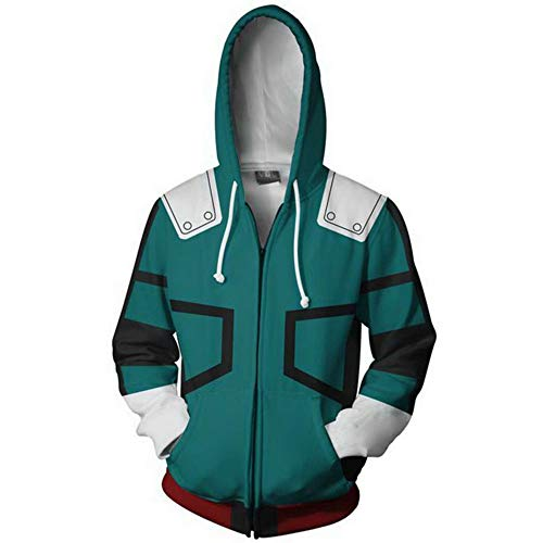 Boku No Hero Academia My Hero Academia Izuku Midoriya Hoodies Sweatshirt Cosplay Costume Training Suit Jacket (Green, XL)