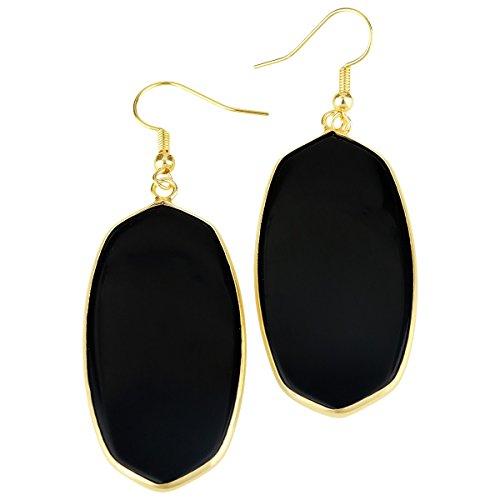 (rockcloud Black Agate Stone Dangle Hook Earrings Oval Gold Plated )