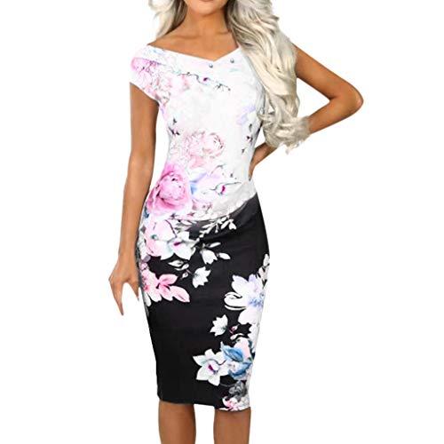 (Sunhusing Women's V-Neck Sleeveless Slim Multi Floral Print Dress Party Evening Bodycon Midi Dress)