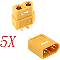 RCmall XT60 XT-60 Bullet Connectors Plugs with Heat Shrink 5 Pairs (5 Male + 5 Female) for RC LiPo Battery Motor