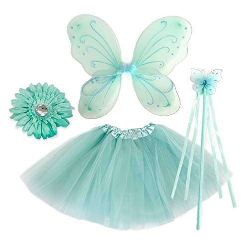 Hairbows Unlimited Aqua Girls Costume Dress Up Outfit Set Includes One Tutu Skirt, Fairy Wing Set, Fairy Butterfly Wand and Flower Clip -