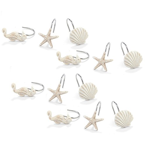 Juvale Seashell Shower Curtain Hooks - 12-Pieces Decorative Bath Curtain Rings for Beach, Mermaid, Ocean-Themed Bathroom - Seahorse, Seashell, Starfish Designs, White