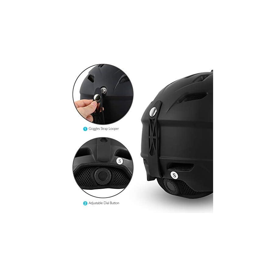 AKASO Ski Helmet, Snowboard Helmet Climate Control Venting, Dial Fit, Goggles Compatible, Removable Fleece Liner Ear Pads, Safety Certified Snow Helmet Men & Women