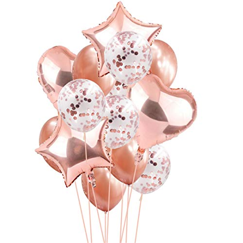 14Pcs Creative Multi Confetti Air Balloons Happy Birthday Party Helium Balloon Decorations Wedding Festival Balon Party Supplies Champagne -