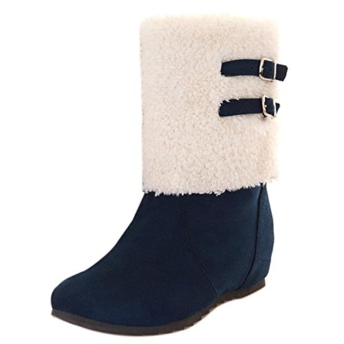 COOLCEPT Women Boots Pull On Hidden Heel Blue 2bkjBryz44