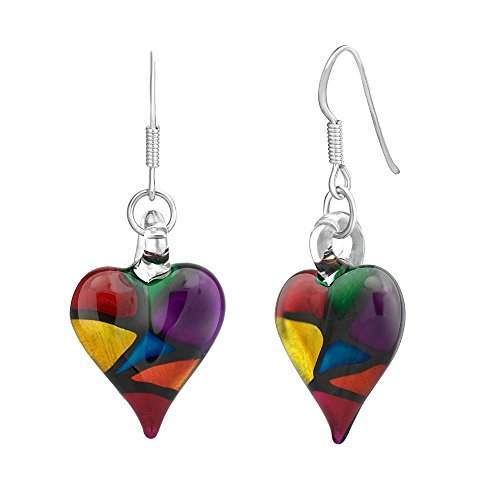 (925 Sterling Silver Hand Blown Venetian Murano Glass Multi Color Heart Shaped Dangle Earrings)