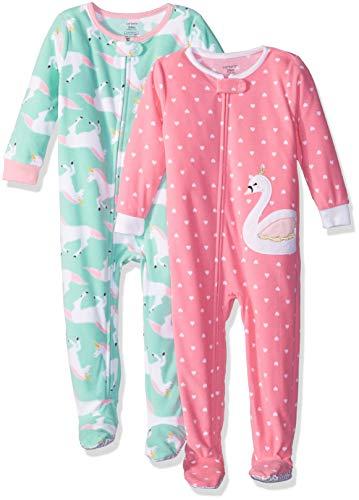 - Carter's Baby Girls' 2-Pack Fleece Pajamas, Swan/Unicorn, 12 Months
