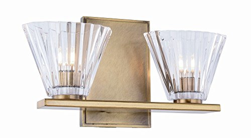Elegant Lighting Oslo 2 Light Vantiy Light in Antique Brass