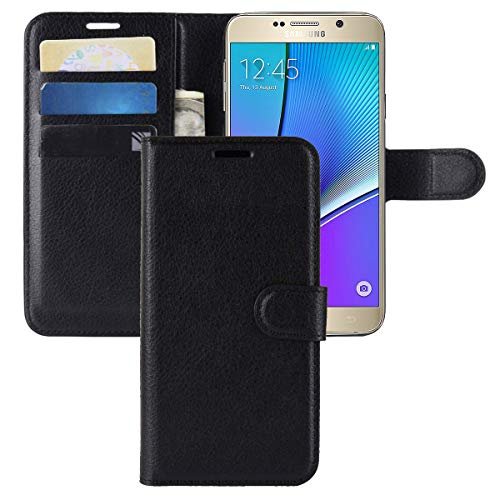 Galaxy Note 5 Case CH-IC Protective Shockproof PU Leather Wallet Flip Folio Cover with Kickstand Card Holders Magnetic Closure for Samsung Galaxy Note 5 (Black)