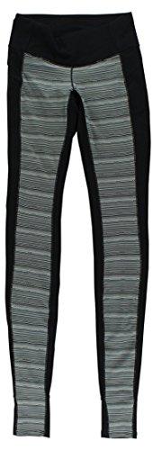 New Balance Women's Studio Printed Stripe Tights, Black/Black Multi, X-Small