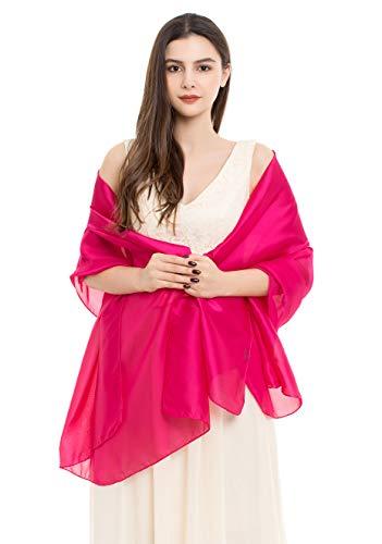 REEMONDE Womens Luxurious Soft Satin Chiffon Bridal Scarf Shawl Wraps Pashmina for Evening Party (Hot Pink Satin)