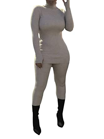 d66152ae31f Amazon.com  Makkrom Womens Two Piece Outfits Ribbed Turtleneck Bodycon Top  Skinny Pants Set Jumpsuits  Clothing