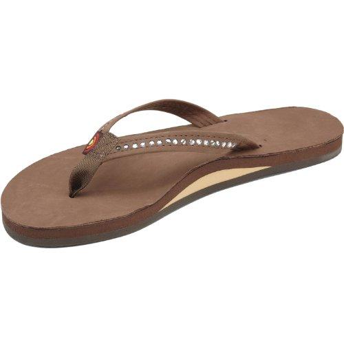 Rainbow Sandals Women's Single Layer Narrow Strap White Crystal,Dark Brown, 10 - Crystal Sandals Rainbow