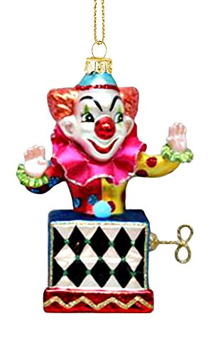 [Jack In The Box Hanging Glass Christmas Ornament] (Scary Christmas Clowns)