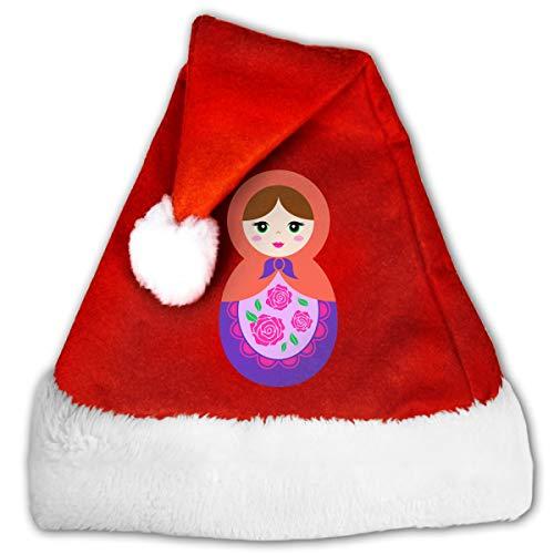 FGHJKL Cartoon Russian Doll Plush Santa Hat Comfortable Double Thick Plush Red Velvet Cap ()