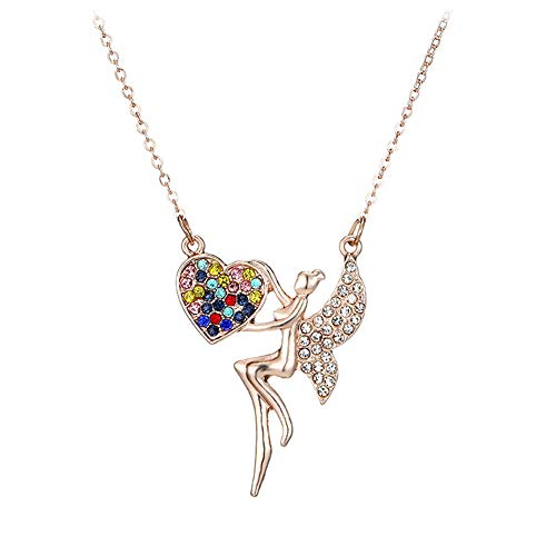 Gold Amethyst Star Pendant - CHoppyWAVE Necklaces Fashion Women Rhinestone Inlaid Angel Wing Heart Pendant Chain Necklace Jewelry - Rose Gold