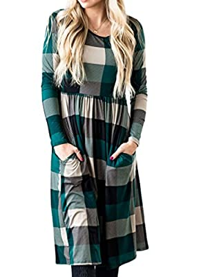 MEANDYOU Women Long Sleeve Empire Waist Buffalo Plaid Patch Pocket Midi Dress