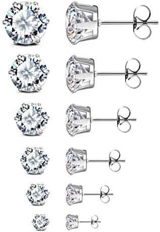 JewelrieShop Women Girls Stud Earrings Set, White Black Pink Earings Sets, Hypoallergenic Nickel-free