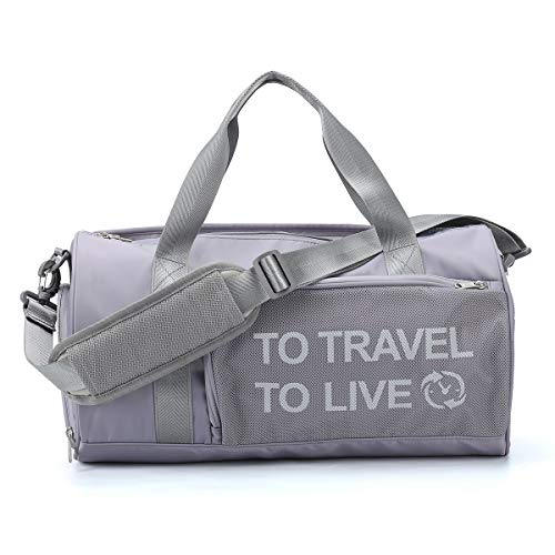 Small Sport Gym Bag for Women and Men, Waterproof Tote Travel Duffel Bag Overnight Workout Bag Weekender Bag for Women Men with Wet Pocket & Shoes Compartmen