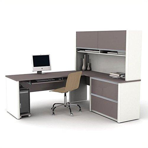 BESTAR Connexion L-Shaped Desk with Two Oversized Pedestals, Slate/Sandstone (L-shaped Office Pedestal)
