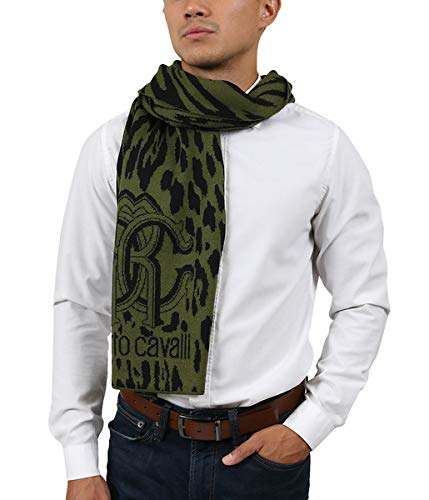 (Roberto Cavalli ESZ025 D0491 Green/Black Wool Blend Leopard Print Mens Scarf for Mens)