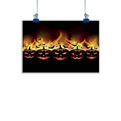 Warm Family Modern Frameless Painting Vintage Halloween Jack o Lanterns Bedroom Bedside Painting 20