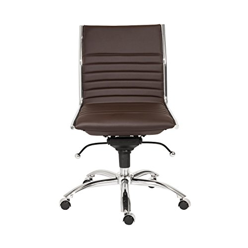 - Euro Style Dirk Leatherette Adjustable Office Chair with Chromed Steel Frame and Base, Low Back, Brown