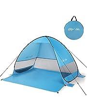 Glymnis Beach Tent Pop Up Tent Beach Sun Shelter Portable Sun Shade UPF 50+ for Outdoor Activities with Carry Bag Blue