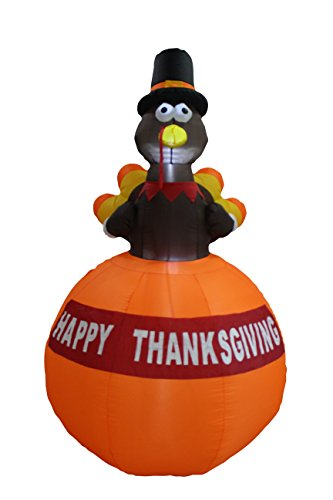 6 Foot Tall Happy Thanksgiving Inflatable Turkey on Pumpkin Perfect Thanksgiving Autumn LED Lights Decor Outdoor Indoor Holiday Decorations, Blow up Lighted Yard Lawn Decor Home Family Outside]()