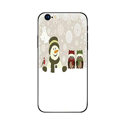 Phone Case Compatible with iphone6 Plus iphone6s Plus mobile phone protecting shell Brandnew Tempered Glass Backplane,Christmas,Snowman and Owls in Snowy Winter Day with Jingle Bells and Snowflake Fig