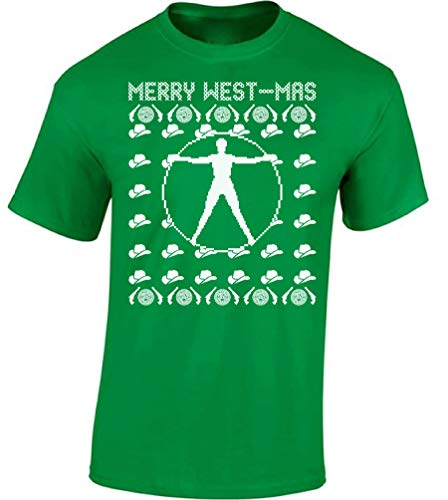 Raxo Merry Westmas Ugly Christmas Shirt Men's Xmas Shirt Nerds Xmas Gifts Green -