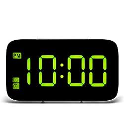 OUYAWEI Home USB Charging Digital LED Display Alarm Clock with Voice Control Yellow