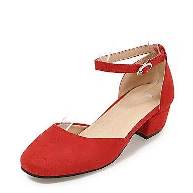 LvYuan Mujer-Tacón Robusto-D'Orsay y Dos Piezas-Sandalias-Vestido Informal Fiesta y Noche-Semicuero-Negro Rosa Rojo Gris Red