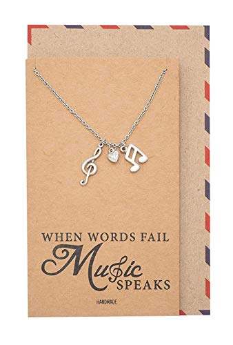 Quan Jewelry Music Note Necklace, Treble Clef Necklace, Best Music Jewelry Gift for Music Lovers, 16 to 18 -