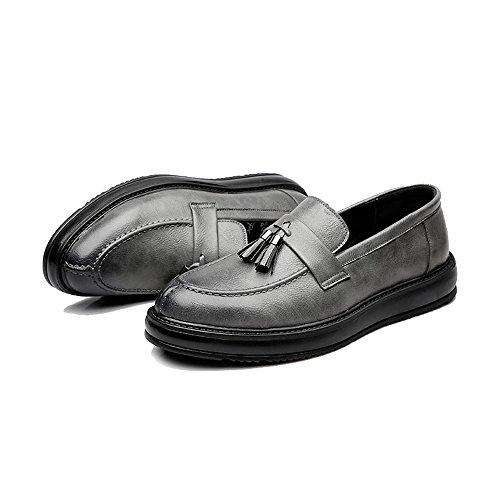 PU Mocassini da pelle Scarpe 2018 Classic Outsole Slip shoes da lavoro EU con Grigio Oxfords Nero uomo Dimensione Uomo on Jiuyue decorazione 39 Color in nappe Scarpe Ciondolo Pelle YO80x8q