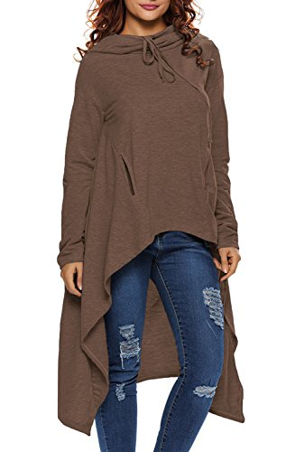 Dokotoo Womens Plus Size Cotton Casual High Low Loose Long Sleev Tunic Sweatshirt Hoodies Pockets Brown