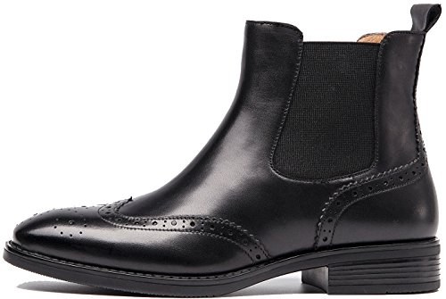 Brogue Womens Ankle Wing Comfortable lite U Women Chelsea Tip Leather Black Boots Winter Booties Fall 1wnq0