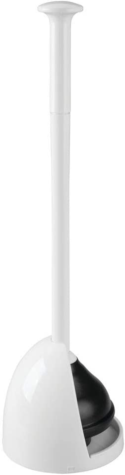 mDesign Plastic Toilet Bowl Plunger Set - with Drip Tray, Compact Discreet Freestanding Bathroom Storage Organization Caddy with Base, Sleek Modern Design - Heavy Duty - White
