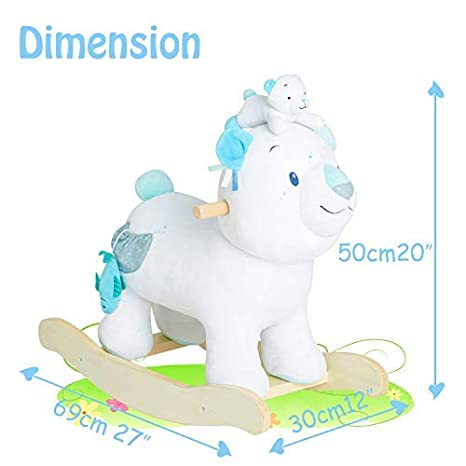 【New】 labebe White/&Blue Kid Ride On Toy for Girl/&Boy Bear Rocker Toy Wooden Toddler//Child Birthday Gift Infant Stuffed Riding Animal for Outdoor/&Indoor Plush Rocking Horse for Baby 1-3 Year Old