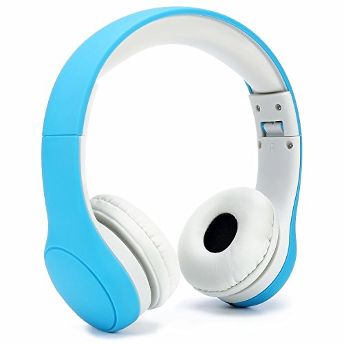[Volume Limited] KPTEC Kids Safety Foldable On-Ear Headphones with Mic, Volume Controlled at Max 93dB to Prevent Noise-induced Hearing Loss (NIHL), Passive Noise Reduction, Wired Earbuds,Blue by KPTEC